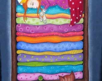 The Princess and the pea - size A3 minky fabric