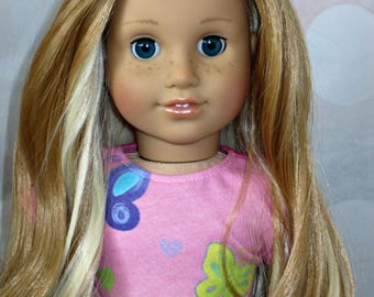 "OOAK 18"" Custom American Girl Doll Nellie Dark Blue Eyes Strawberry Blonde Hair"