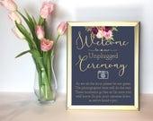 Printable Floral Unplugged Wedding Sign // Printable Wedding Event Sign // Wedding Printable // Floral Wedding // Digital Download // Navy