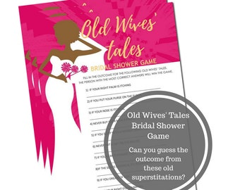 Old Wives Tales Bridal Shower Game - African American Bridal Shower Game Download - Superstition Bridal Shower Game -Instant Printable