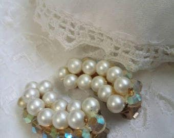 Rhinestone and pearl clip on vintage earrings