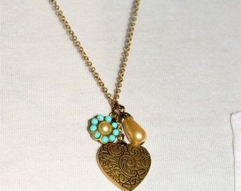Vintage Inspired Gold Charm Necklace
