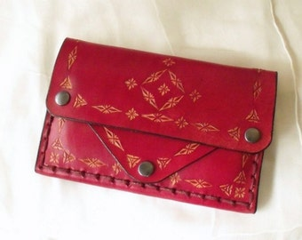 Large leather purse, tooled, Red
