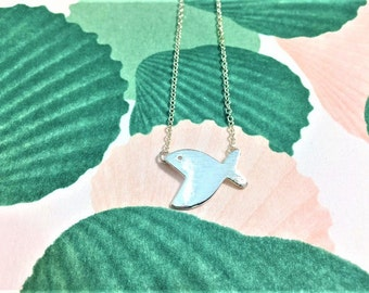 Quirky silver fish pendant necklace