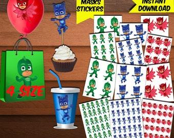 PJ Masks Stickers-Pj Mask Favors-Digital Pj Mask Stickers-Pj Mask Party Decoration-Printables Pj Mask Stickers-Birthday Pj-DIGITAL Download