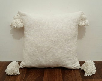 Moroccan Cotton Pom Pom Pillow / Cover, Accent Pillow, Throw, P02