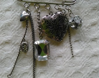 One of a kind up cycled heart locket kilt pin brooch