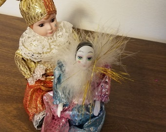 Lot 2 Jester/Clown Porcelain Dolls