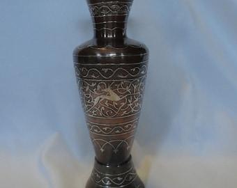 Brass Copper Silver inlay Vase Beautiful Impala, Gazelle Design