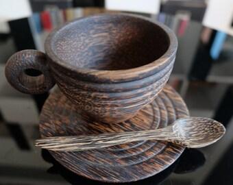 Handmade Sugar Palm Wood Tea Cup Mug With Saucer And Spoon