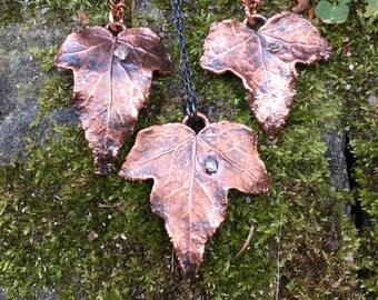 Ivy leaf necklace / Ivy necklace / Copper necklace / Leaf necklace / Herkimer diamond / Nature necklace / Forest necklace / Gift for her