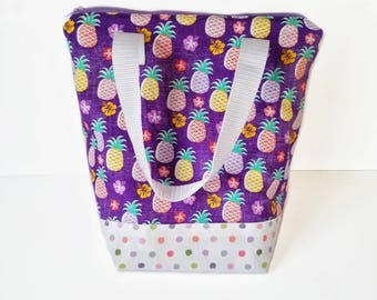 Pineapple lunch bag, insulated lunch bag, adult lunch bag, waterproof interior, lunch tote, reusable lunch, washable bag, kids lunch bag