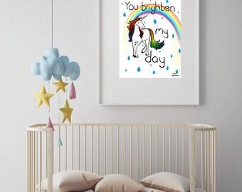 "Unicorn illustration nursery art print//baby shower//baby gift//nursery decor//nursery wall art//rainbow nursery//""you brighten my day"""