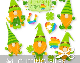 St-Patrick's gnomes cutting files, svg, dxf, pdf, eps included - cutting files for cricut and cameo - Cutting Files SVG - CT1060