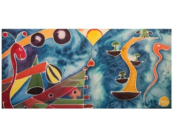Shapes and colors-picture painted with Batik-90 x 45 cm