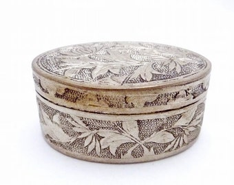Antique Asian Silver Trinket Snuff Box with Lid, Ring Bearer Box, Engagement Ring Box, Floral Design, Signed