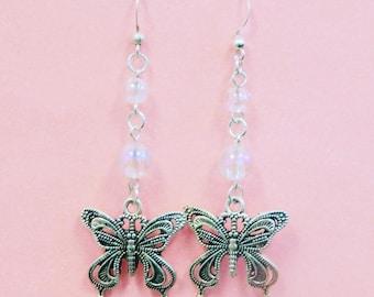 Clear Bubble Butterfly Earrings