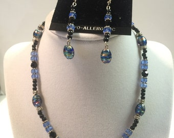 Blue and Black Glass Beaded Necklace