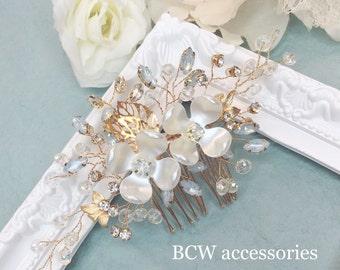 Flower gold wedding accessory, gold wedding accessory, wedding accessory, light blue wedding,bridal head piece, flower accessory, head piece