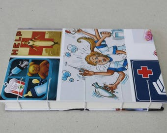 Hand-stitched pocket notebook with blanket decorated themed nurses/doctor/healthcare professional