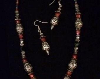 Beaded Gemstone Necklace & Earrings Set-Hand-Sculpted Saddlebred Pendant-Equine