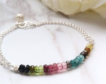 Multicolor Rainbow Tourmaline Bracelet, Ombre Tourmaline Gemstone, Gemstone Jewelry,Handmade Personalized Unique Gifts for her