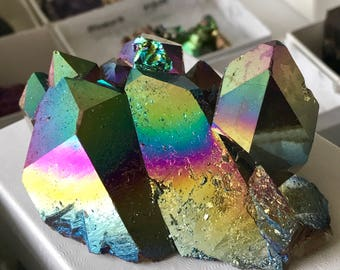 Aura Quartz HIGH VIBE RAINBOW! 129g / Crystal Cluster! Titanium Coated