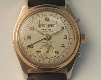 Very rare and unusual MAR-SEL TRIPLE Complication Gents vintage watch Circa late 1940's