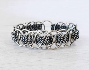 Silver Cuff Bracelet Wire Wrapped Silver Cuff Braided Silver Friendship Bracelet Silver Woven Bracelet