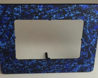 Original 4x6 Wooden Picture Frame, Blue and Black by Kaelah Mickelle, Free Shipping