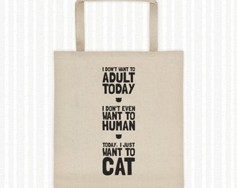 Today I Want To Cat, Tote Bag, College Student Gift, Cat Lover, Book Bag, Reusable Grocery Bag, Canvas Tote, Gift for Her, Expandable Gusset