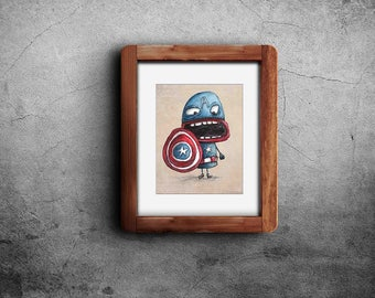 Nursery Decor PRINTABLE, Nursery Art, digital art, Captain America, funny, kid art, original art, watercolor