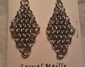 "Bright ""Silver"" Chain Maille (European 4-1) Earrings"