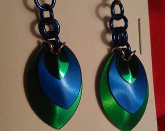 Green/Blue 3 Graduated Scale Earrings