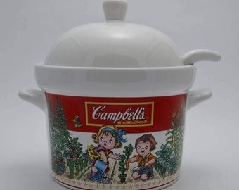 Campbell's Soup Serving Crock with Lid and Ladle, Crock with Lid, Mmm Mmm Good Soup Serving Tureen, Campbell's Kids