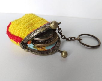 Crochet mini coin purse keychain in yellow, green and red, bronze tone kiss lock frame, girls keyring, surprise birthday gift for her