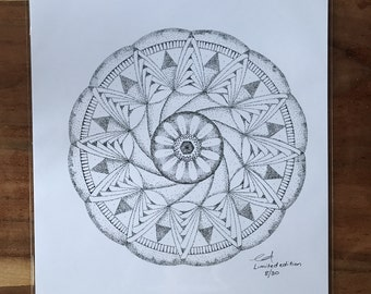 A3 Meditative Mandala.  Limited Edition Print