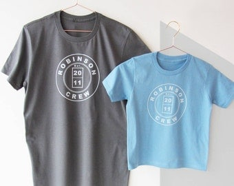 Daddy And Me, Personalised 'Crew' T Shirt Set