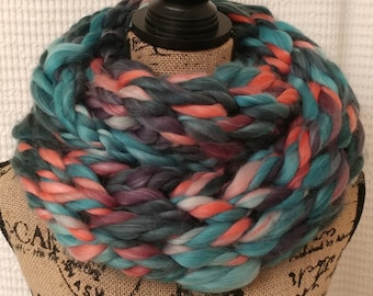 Super Chunky Arm Knit Double Infinity Scarf/Cowl/Teal Coral Scarf