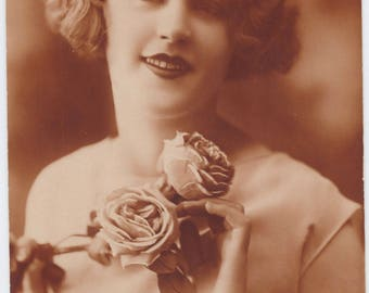 Rose Bouquet | 1920's Postcard | Flapper Portrait | Burnt Umber Tones | Marcel Waves | Bernice Bobs Her Hair | Silk Flowers |
