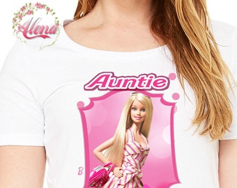 Auntie Iron On Transfer , Birthday Auntie Shirt , Barbie Shirt , Barbie Printable , Iron On transfer , Digital File Only , Barbie Transfer