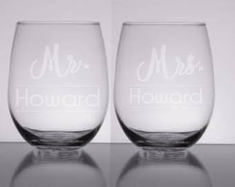 Etched wine glasses/wedding wine glasses/future mrs. wine glass/bride wine glass/stemless wine glass/engagement gift/personalized wine glass