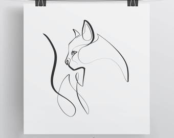 Cat Art, Cat Art Print, Cat Illustration, Cat Print, Cat Lover, Cat Wall Art, Cat Gift, Single Line, Cat Lover Gift, Cat Gifts, Cat Noir