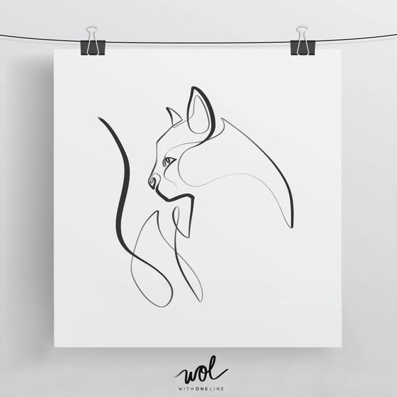 Single Line Box Art : Cat art print illustration