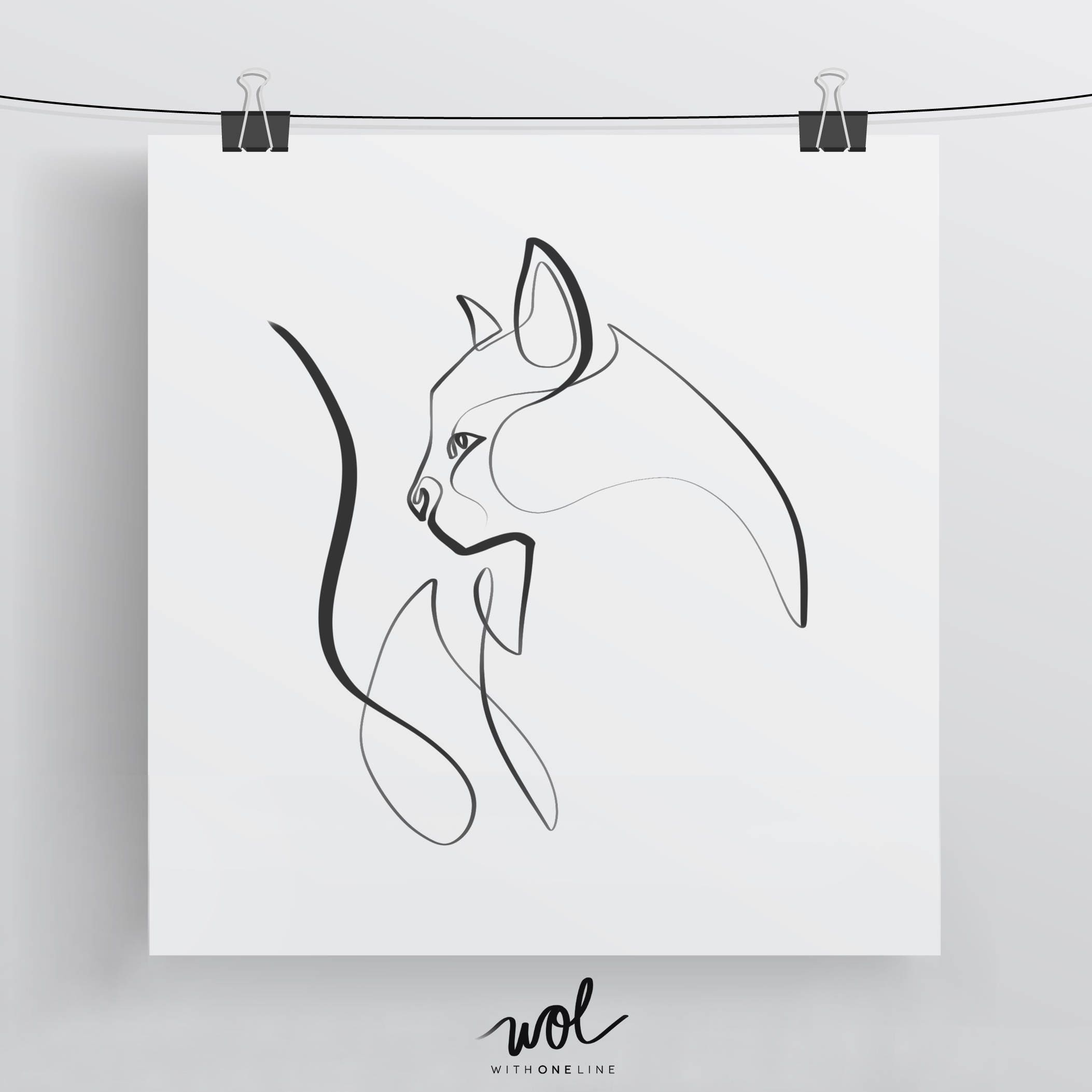 Single Line Chat Art : Cat art print illustration