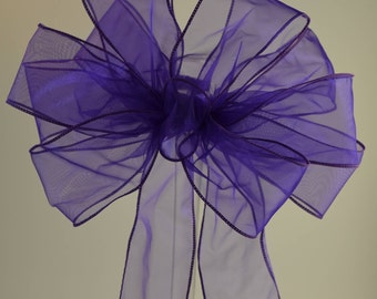 Purple Organza Bow, Spring Bow, Summer Bow, Shower Bow, Wreath Bow, Basket Bow, Gift Bow, Organza Bow, Decorative Bow