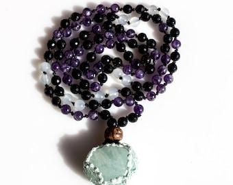 Mala Necklace Prayer Beads in Black Onyx, Aquamarine and Amethyst