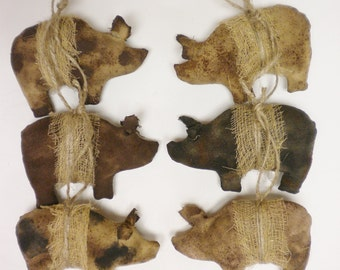 Primitive Pig Ornament - Made To Order, Pig Ornaments, Country Animals