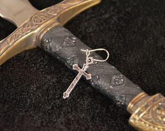 Silver Cross Earring