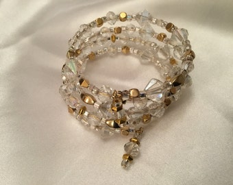 Crystal and gold memory bracelet.